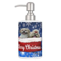#Shih tzu Toothbrush Holder Christmas Soap Dispenser & Toothbrush Holder - #shih #tzu #puppy #dog #dogs #pet #pets #cute #shihtzu