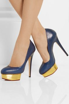 Charlotte Olympia | Dolly midnight blue karung pumps with gold island platform