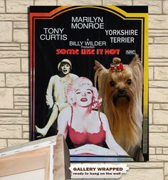 Items similar to Yorkshire Terrier Art Movie Poster Marilyn Monroe Tony Curtis Jack Lemmon star yorkie lover wall art on Etsy Jack Lemmon, Tony Curtis, Vintage Movies, Yorkshire Terrier, Marilyn Monroe, Canvas Prints, Baseball Cards, Wall Art, Yorkies