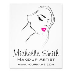 Lovely pink lips make up artist  branding flyer - diy individual customized design unique ideas