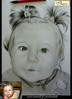 Dessin portrait au crayon.enfant, realisé d'apres photo a main levée. Pour toutes commandes c'est ici www.samos17.fr
