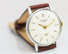 Classic men's watch Raketa / Rocket – mechanical watch man – white face gents watch – leather watch men – gidt for him USSR 70s