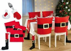 Funny And Cute Chair Cover Ideas For Christmas Christmas Table Deco, Front Door Christmas Decorations, Christmas Tree Themes, Christmas Projects, Simple Christmas, Christmas Home, Christmas Wreaths, Holiday Decor, Christmas Chair Covers