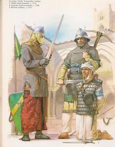 Normands en Sicile : Noble, soldat, prisonnier, vers 1180. Illustration : Angus Mc Bride.