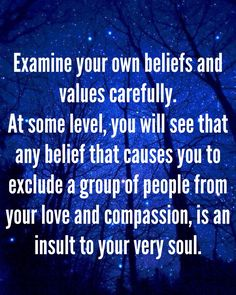 Examine your own beliefs and values carefully. At some level, you will see that…