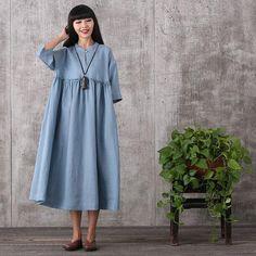 Dress - Women Summer Loose Pullover Cotton Dress