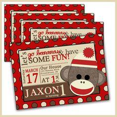 Sock Monkey Birthday Invitations Sock Monkey Invites by LullabyLou
