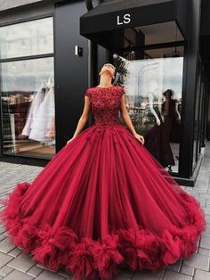 Red Tulle Appliques Ball Gown Prom/Evening Dress, Sweet 16 Dresses,Quinceanera Dresses from Flosluna Lace Ball Gowns, Tulle Ball Gown, Ball Gowns Prom, Evening Dresses, Formal Dresses, Wedding Dresses, Gown Wedding, Dresses Uk, Long Dresses