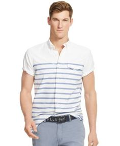 POLO RALPH LAUREN Polo Ralph Lauren Men'S Short-Sleeve Tattersall Oxford Shirt. #poloralphlauren #cloth #down shirts