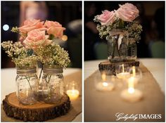 Rustic, DIY wedding golightlyimages.com_0004 Find a tree cut it down make wood center piece (ryan's job) Baby's breath in mason jars, burlap for table runners, tea lite candles maybe?