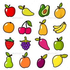 Buy Collection of Fruits in Cartoon Style by ONYXprj on GraphicRiver. Collection of fruits in cartoon style. Fruit food cartoon, apple and lemon, banana and sweet pear. Fruit Cartoon, Food Cartoon, Dinners For Kids, Kids Meals, Comfort Food List, Healthy Food Quotes, Fruit Icons, Fruit Vector, Best Party Food