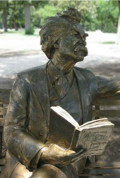 Statue of Mark Twain reading. Mark Twain statue, Trinity Park, Fort Worth, Texas Photo by Barbara Schmidt © 201 I Love Books, Good Books, Books To Read, My Books, Mark Twain, Statues, Art Sculpture, Stone Sculptures, Book Authors
