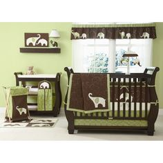 Carter's Green Elephant Crib Bedding