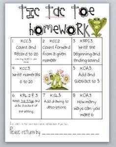 Kindergarten Common Core Weekly Homework #2 image 2