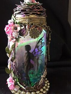 Enchanting Fairy In A Jar Light ,pixie,magical,OOAK, Mythical,fantasy,Gift  | eBay Enchanted Fairies, Fantasy Gifts, Power Colors, Fairy Jars, Color Changing Lights, Beautiful Fairies, Jar Lights, Dollhouse Miniatures, Pink Flowers