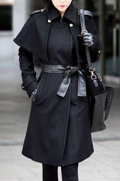 Black Plain Lapel Belt Coat,Cheap in Wendybox.com