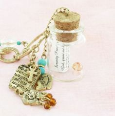 Serenity prayer message in a bottle pendant by Briky on Etsy