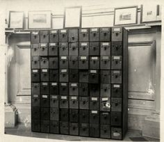 Otlet (1912):  The Mundaneum, with its enormous filing system allowed people to request information by mail-order. By 1912, Otlet and his team were fielding 1,500 such requests per year.  Image: Mundaneum Archive, Belgium