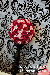 flower or ribbon topiaries    black white pink paris birthday party DIY flower clusters