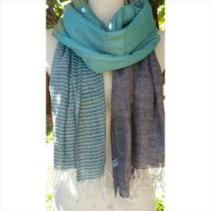 """Classic scarf with light aqua all over New Lightweight 100% viscose 34"""" width x 78"""" Length Accessories"""
