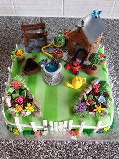 """My friend just said to me can I create a birthday cake for his dad, """" he likes gardening"""" So here's what I came up with !!!! He loved it xx"""