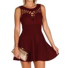 Burgundy Flare Out Skater Dress