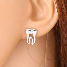 Tooth Shape Studs/Earrings For Dental professionals Teeth Implants, Dental Implants, Dental Assistant, Dental Hygienist, Dental Humor, Dental Bridge Cost, Dental Jewelry, Beautiful Teeth, Teeth Shape