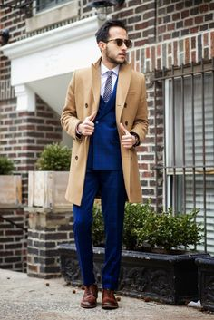 suiting with a camel coat