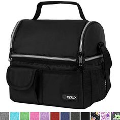 OPUX Insulated Dual Compartment Lunch Bag for Men, Women | Double Deck Reusable Lunch Pail Cooler Bag with Shoulder Strap, Soft Leakproof Liner | Large Lunch Box Tote for Work, School Reusable Lunch Bags, Insulated Lunch Bags, Water Bottle Storage, Water Bottles, Designer Lunch Bags, Kids Lunch Bags, Lunch Box, Thermal Lunch Bag, Mens Lunch Bag