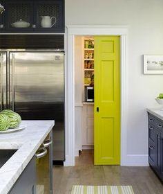 Pantry Pocket-Door...love the yellow...my kitchen?