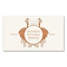 A decorative insignia of two facing peacocks embellish this interior designer business card template. Personalize with your info instantly. Easy to order. Fast shipping.