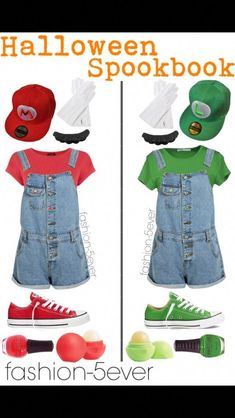 Mario and Luigi Halloween costumes for teen girls . - Clothes for the kids - Halloween Mario And Luigi Halloween Costume, Halloween Costumes For Teens Girls, Mario Costume, Best Friend Halloween Costumes, Cute Costumes, Halloween Outfits, Group Halloween, Halloween Ideas, Teen Girl Costumes