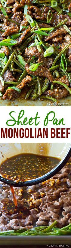 Spicy Sheet Pan Mongolian Beef Recipe Via Spicyperspectiv - Güveç yemekleri - Las recetas más prácticas y fáciles Beef Recipe Spicy, Spicy Recipes, Asian Recipes, Cooking Recipes, Healthy Recipes, Oven Recipes, Kabob Recipes, Fondue Recipes, Recipes