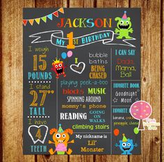 Monster Birthday Chalkboard Sign, First Birthday Sign, Little Monster, Lil Monster, Printable, Personalized, Photo Prop, Boy, Matching