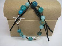 Blue Agate Bead Bracelet Blue Agate Gemstone by KBrownJewellery, £27.00