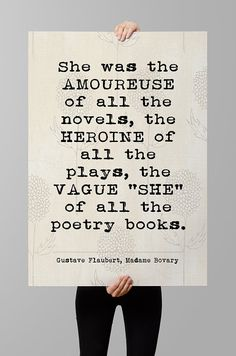 """Gustave Flaubert Madame Bovary quote, """"She was the amoureuse..."""" Literary Quote Print, Printable art , Printable quotes, Instant download"""