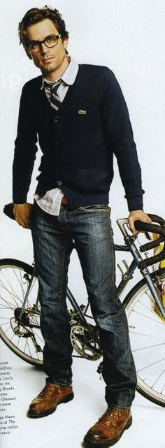 Classic Lacoste cardigan.  Perfect for riding your bike to class...