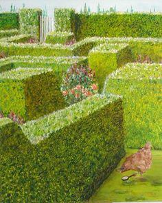 Peinture Enquête dans un jardin à la française