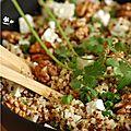 Salade boulgour, quinoa, feta, noix