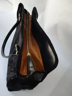 beautiful suede day bag with black leather by sofiabozikishandbags, €450.00