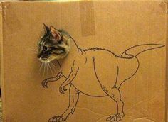 Catsaurus! I literally laughed out loud! I need to have my roommate draw something on a box!
