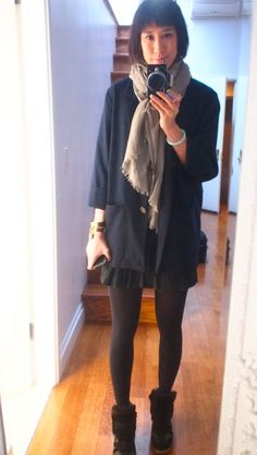 weird in-between weather calls for a weird in-between outfit:  Thayer blazer, Loro Piana scarf, Proenza t, Nanette Lepore leather mini skirt, tights (wahhhh), and—hoooooray—my new Isabel Marants sneakers!