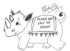 Lady Mary Rhino Doodle by Michelle Dockery (Downton Abbey)