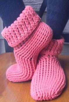 Knit Look Slipper Boots Crochet ADULT Sizes XS-XL