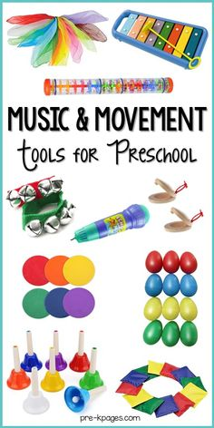 Music and movement tools and toys for your preschool, pre-k, or kindergarten classroom. A list of must have tools for music and movement. Music For Toddlers, Music Lessons For Kids, Music Lesson Plans, Music For Babies, Music For Young Children, Toddler Music, Movement Preschool, Preschool Music Activities, Preschool Transitions