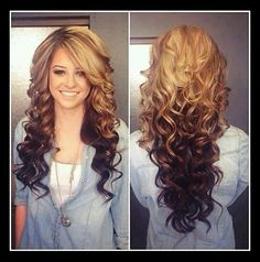 Golden Caramel Highlights On Top Fading Into Dark Brown Hair..Love The Curls <3