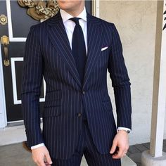 "GroomInspiration on Instagram: ""Pinstripe perfection via @derekbleazard 