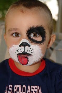 Simple face painting designs are not hard. Many people think that in order to have a great face painting creation, they have to use complex designs, rather then Puppy Face Paint, Dog Face Paints, Halloween Tipps, Halloween Makeup, Dog Halloween, Kids Halloween Face Paint, Halloween Ideas, Animal Face Paintings, Artistic Make Up