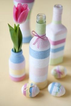 Wine Bottle Yarn Easter Decor