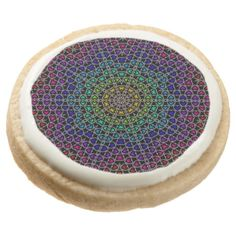 Rainbow Kaleidoscope Hearts Cookies Round Premium Shortbread Cookie